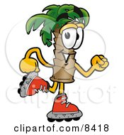 Palm Tree Mascot Cartoon Character Roller Blading On Inline Skates