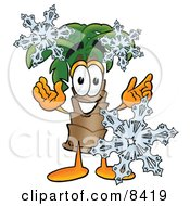 Palm Tree Mascot Cartoon Character With Three Snowflakes In Winter