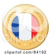 Royalty Free RF Clipart Illustration Of A 3d Golden Shiny France Medal by elaineitalia
