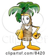 Clipart Picture Of A Palm Tree Mascot Cartoon Character Pointing At The Viewer
