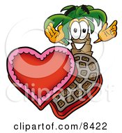 Clipart Picture Of A Palm Tree Mascot Cartoon Character With An Open Box Of Valentines Day Chocolate Candies