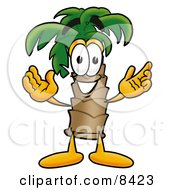 Poster, Art Print Of Palm Tree Mascot Cartoon Character With Welcoming Open Arms