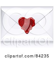 White Valentine Envelope Sealed With A Heart Wax Seal