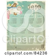 Royalty Free RF Clipart Illustration Of A Grungy Vintage Styled 2010 Calendar With A Bird Butterfly And All Twelve Months