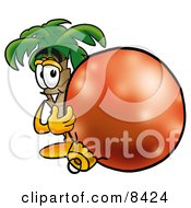 Palm Tree Mascot Cartoon Character Standing With A Christmas Bauble
