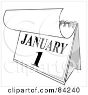 Royalty Free RF Clipart Illustration Of A Black And White Desk Calendar Peeling Back A Page For The New Year On January First by Pams Clipart
