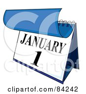 Blue And White Desk Calendar Peeling Back A Page For The New Year On January First