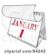 Royalty Free RF Clipart Illustration Of A Red And White Desk Calendar Peeling Back A Page For The New Year On January First by Pams Clipart