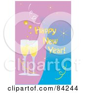 Happy New Year Greeting With Toasting Champagne Glasses On Pink And Blue
