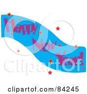 Royalty Free RF Clipart Illustration Of A Happy New Year Greeting With Pink Words On A Blue Wave With Red Stars by Pams Clipart