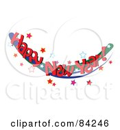 Royalty Free RF Clipart Illustration Of A Happy New Year Greeting With Red Words On A Swoosh With Stars by Pams Clipart