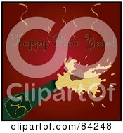 Royalty Free RF Clipart Illustration Of A Happy New Year Greeting Over A Cork Popping Out Of A Champagne Bottle On Red by Pams Clipart