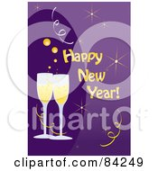 Happy New Year Greeting With Toasting Champagne Glasses On Purple
