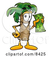 Clipart Picture Of A Palm Tree Mascot Cartoon Character Holding A Dollar Bill