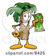 Palm Tree Mascot Cartoon Character Holding A Dollar Bill