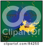 Royalty Free RF Clipart Illustration Of A Happy New Year Greeting Over A Cork Popping Out Of A Champagne Bottle On Green by Pams Clipart