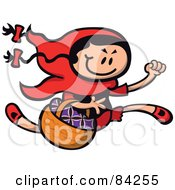 Little Red Riding Hood Running With A Basket In Arm