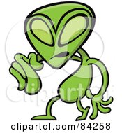 Royalty Free RF Clipart Illustration Of An Angry Green Alien Pointing Outwards by Zooco