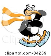 Royalty Free RF Clipart Illustration Of A Happy Ice Skating Penguin Wearing A Scarf