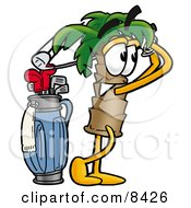 Clipart Picture Of A Palm Tree Mascot Cartoon Character Swinging His Golf Club While Golfing