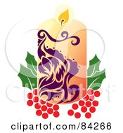 Royalty Free RF Clipart Illustration Of A Purple And Beige Christmas Candle Resting On Holly by Cherie Reve