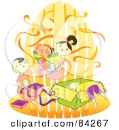 Royalty Free RF Clipart Illustration Of Happy Children Opening Birthday Presents by Cherie Reve