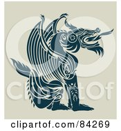 Royalty Free RF Clipart Illustration Of A Sitting Fire Breathing Teal Dragon In Profile