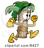 Clipart Picture Of A Palm Tree Mascot Cartoon Character Running