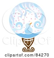 Royalty Free RF Clipart Illustration Of A Happy Snowman Snowglobe On A Pedestal by Cherie Reve