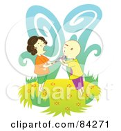 Royalty Free RF Clipart Illustration Of A Girl Crying As Her Brother Takes A Bite From Her Sucker