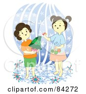Royalty Free RF Clipart Illustration Of Two Sisters Decorating A Mini Christmas Tree