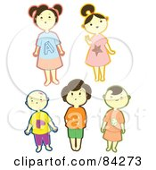 Royalty Free RF Clipart Illustration Of A Digital Collage Of Happy Little Boys And Girls With Bold Outlines by Cherie Reve