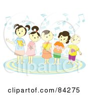 Choir Of Happy Singing Children With Notes And Books