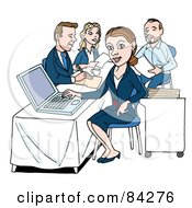 Royalty Free RF Clipart Illustration Of A Businesswoman Working On A Laptop Her Colleagues In The Background by LaffToon