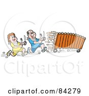 Royalty Free RF Clipart Illustration Of A Hungry Man And Woman Chasing Bbq Ribs On Wheels
