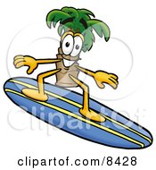 Palm Tree Mascot Cartoon Character Surfing On A Blue And Yellow Surfboard