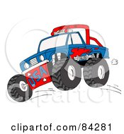 Royalty Free RF Clipart Illustration Of A Blue And Red Monster Truck Jumping by LaffToon