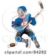 Royalty Free RF Clipart Illustration Of A Beat Up Hockey Player With Missing Teeth by LaffToon