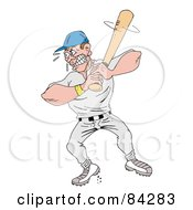 Royalty Free RF Clipart Illustration Of A Tough Baseball Player Up At Bat by LaffToon