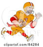 Royalty Free RF Clipart Illustration Of An Athlete Running With An American Football by LaffToon