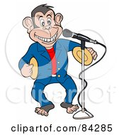 Royalty Free RF Clipart Illustration Of A Entertainer Monkey Standing In Front Of A Microphone Banging Symbols