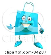 Royalty Free RF Clipart Illustration Of A 3d Blue Shopping Bag Character Gesturing