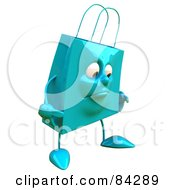 Royalty Free RF Clipart Illustration Of A 3d Blue Shopping Bag Character Pouting