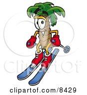 Palm Tree Mascot Cartoon Character Skiing Downhill