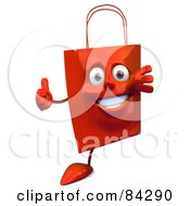 Royalty Free RF Clipart Illustration Of A 3d Red Shopping Bag Looking Around A Blank Sign And Holding A Thumb Up