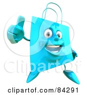 Royalty Free RF Clipart Illustration Of A 3d Blue Shopping Bag Character Holding His Thumb Up