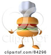 Royalty Free RF Clipart Illustration Of A 3d Cheeseburger Character Wearing A Chef Hat And Facing Slightly Left
