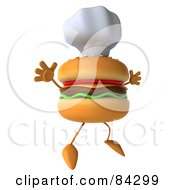 Royalty Free RF Clipart Illustration Of A 3d Cheeseburger Character Wearing A Chef Hat And Jumping In The Air