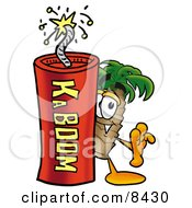 Palm Tree Mascot Cartoon Character Standing With A Lit Stick Of Dynamite