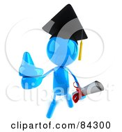 Royalty Free RF Clipart Illustration Of A 3d Blue Bob Character Graduate Holding A Diploma And Giving The Thumbs Up by Julos